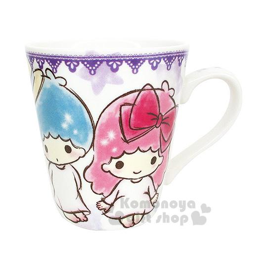 〔小禮堂〕雙子星 陶瓷馬克杯《紫.素描風.星星.草帽》可愛實用