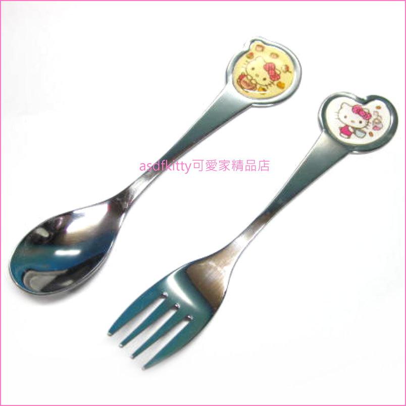 asdfkitty可愛家☆Kitty Skater不鏽鋼湯匙+叉子(黃白版)-日本正版商品