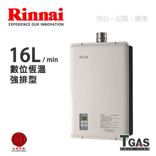 Rinnai林內 16L 數位恆溫強排型熱水器【RUA-1621WF】含基本安裝