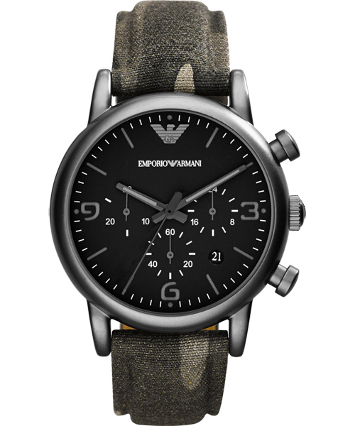 EMPORIO ARMANI/AR1834軍綠時尚腕錶/黑面41mm