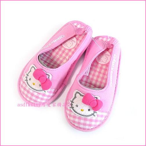 asdfkitty可愛家☆KITTY粉格防滑室內鞋-18公分-鬆緊帶穿的期間比較久歐-韓國正版商品