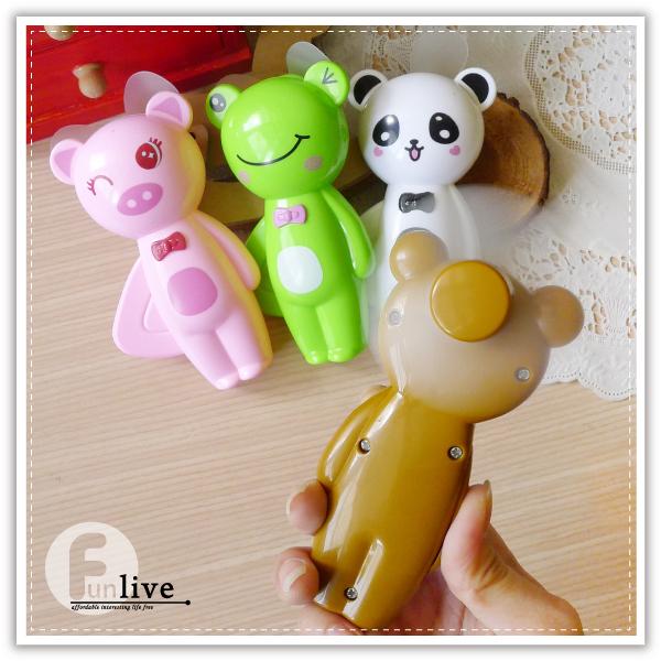 【aife life】動物造型手壓風扇/省力手壓迷你風扇/環保手動風扇/安全軟葉風扇/手搖扇