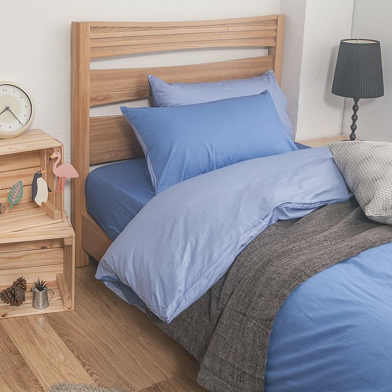 床包 / 單人-100%精梳棉【雙色系列-雙色藍】40支,含一件枕套,戀家小舖,台灣製SS01-AAA101-