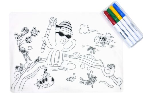 ★衛立兒生活館★英國mombella 海底總動員塗鴉矽膠餐墊 (含四色塗鴉筆)