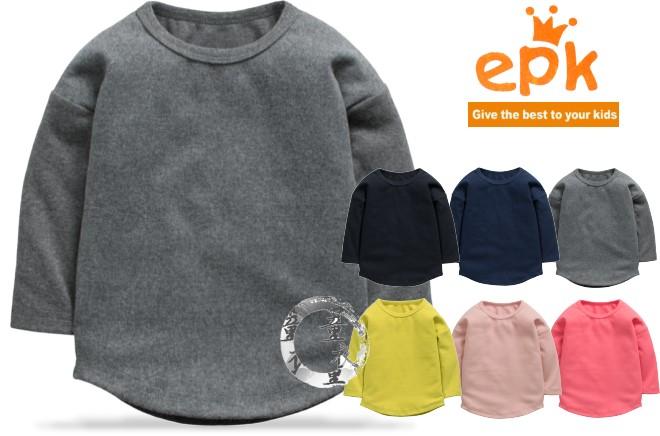 童衣圓【AA160】AA160寬版圓擺衣 epk 長袖 圓領 針織綿 素面 純色 內搭 T恤 上衣 綿T~86-130