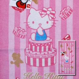 【esoxshop】凱蒂貓Hello Kitty 與紅貴賓 印花童巾(27*54cm)╭*夏日戲水必備《台灣製/童巾/毛巾》