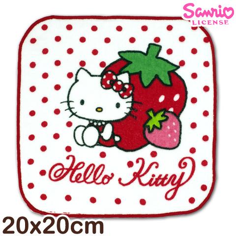 【esoxshop】凱蒂貓純棉小手巾 草莓款 台灣製 Sanrio