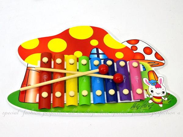 小兔蘑菇手敲琴 彩色敲琴 8音階木製敲打琴 鐵琴 打擊樂器【DF415】◎123便利屋◎