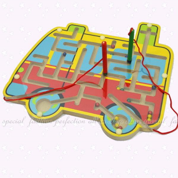 木製磁性運筆迷宮益智遊戲 益智玩具 運筆訓練 雙筆桿 磁性迷宮【DG475】◎123便利屋◎