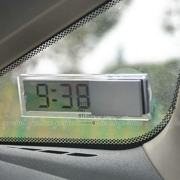 車載電子鐘 透明時鐘 吸盤式 LED時鐘 液晶顯示 電子鐘錶 電子鐘【DG240】◎123便利屋◎