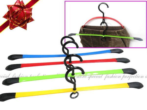 TV購物熱賣『彩色軟性衣褲架』彈力衣架 記憶鋼片衣架 防滑 止滑 有彈性【DV105】◎123便利屋◎