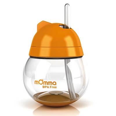【悅兒樂婦幼用品?】mOmma 吸管防滲漏不倒翁學習水杯-橘色