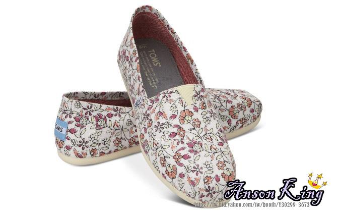 [女款] 國外代購TOMS 帆布鞋/懶人鞋/休閒鞋/至尊鞋 帆布系列 米白小碎花