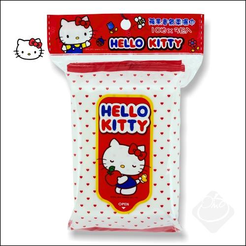 Hello Kitty蘋果香氛柔濕巾10抽3入/濕紙巾/無螢光劑/旅遊外出/攜帶方便╭。☆║.Omo Omo go物趣.║☆。╮
