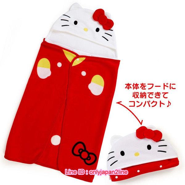 【真愛日本】16110400015造型可拆連帽披毯-KT紅   三麗鷗 Hello Kitty 凱蒂貓  毯子 毛毯