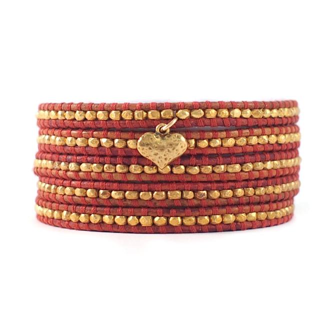 【CHAN LUU】愛心鍍金銀塊珠暗紅色皮繩手環/5圈(CL-BG-2737GV-Esani)