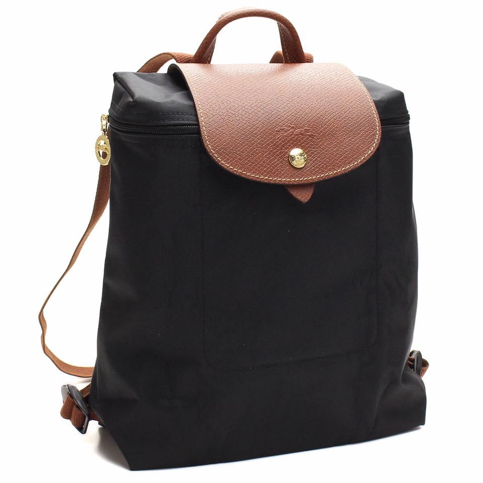 【 LONGCHAMP】 LE PLIAGE 黑色折疊後背包