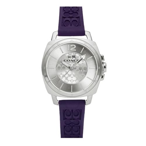 COACH 時尚風格C LOGO面盤女腕錶/銀色x紫/34mm/14502091