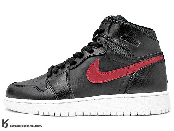 [22%OFF] 2015 最新 1985 年經典復刻款 九孔鞋洞 NIKE AIR JORDAN 1 RETRO HIGH BG GS RARE AIR BLACK RED BRED 大童鞋 女鞋 ..