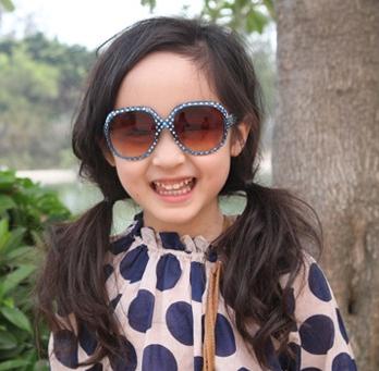 Kocotree◆時尚可愛點點俏麗豹紋兒童太陽眼鏡-藍色(點點款)