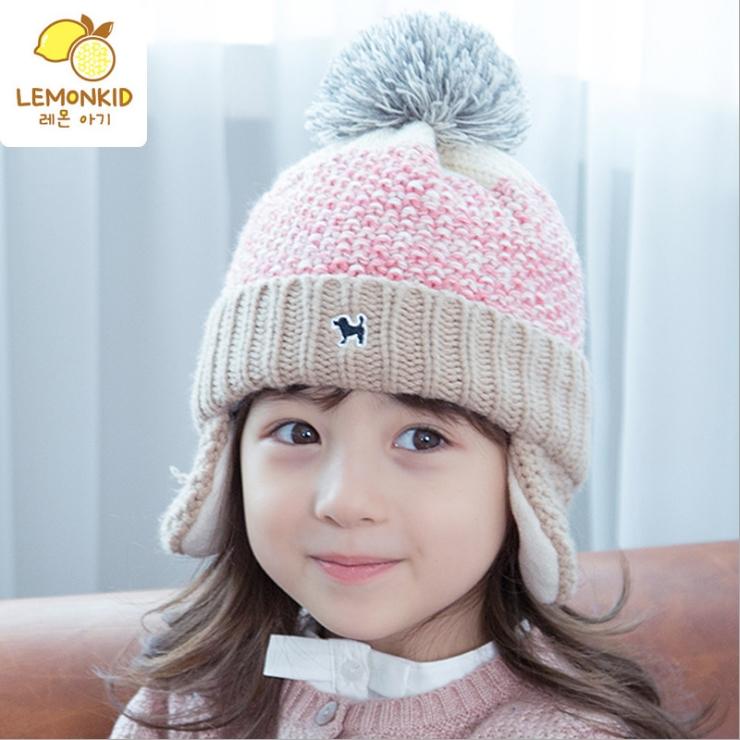 Lemonkid秋冬漸變冰淇淋色小狗dog立體毛球保暖針織兒童護耳毛線帽-粉色