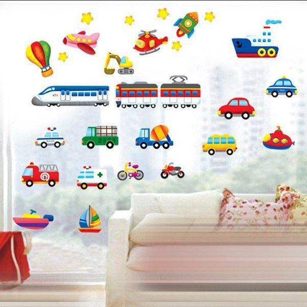 BO雜貨【YV0631】DIY時尚裝飾組合可移動壁貼 牆貼 創意壁貼 卡通車飛機火車DM57-0141 TC1112