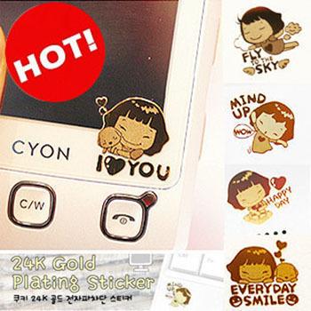 韓版卡通24K鍍金手機防輻射貼電腦貼孕婦必備(一組18張隨機配色)
