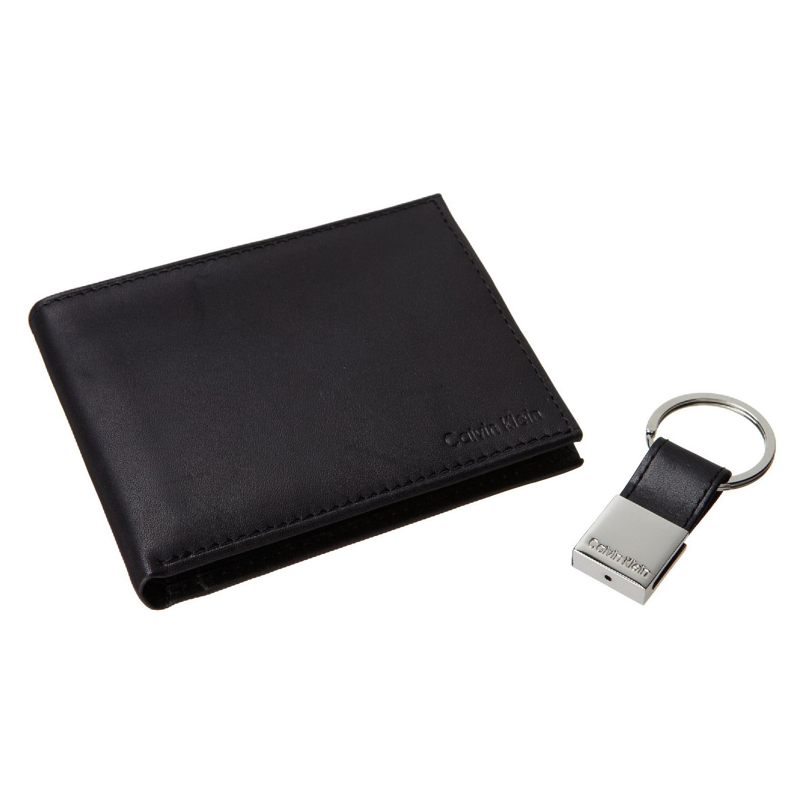 美國百分百【全新真品】Calvin Klein 皮夾 CK 短夾 黑 二折 皮革 鑰匙圈 鈔票層 專櫃 男 C748