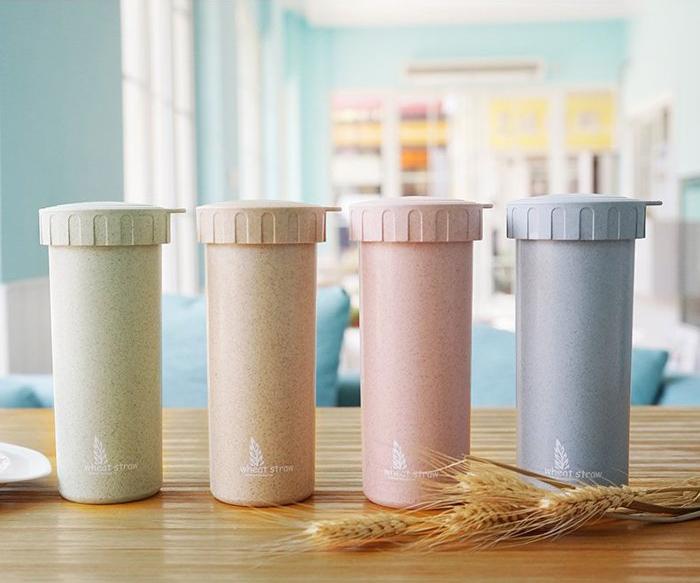 Wheat Straw 天然小麥纖維隨行杯(附吊環) 隨手杯 有蓋子 不漏杯
