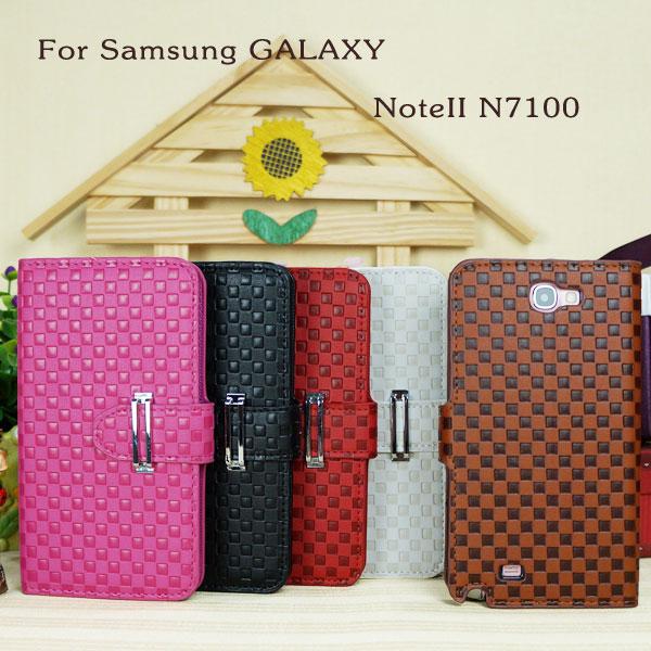 【鐵扣編織紋】三星 SAMSUNG Galaxy NOTEII Note 2 GT-N7100/N7100 側翻皮套/便攜錢包/側掀保護套/側開反扣皮套