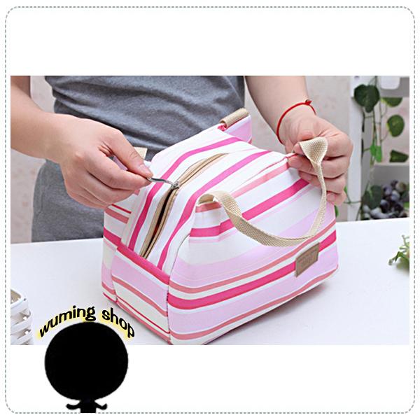 『無名』 韓版 條紋 創意 手提 保溫包 便當包 午餐包 收納袋 收納包 冰包 保冷袋 野餐包 J11104