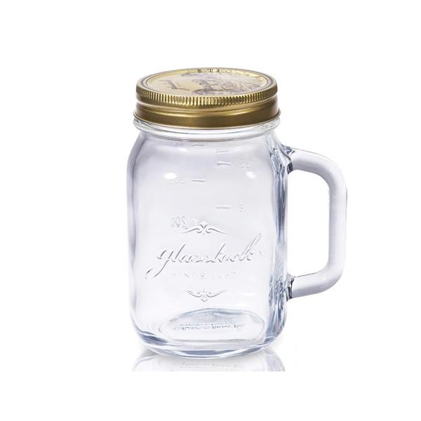 Glasslock經典玻璃密封罐附手柄500ml沙拉罐梅森瓶-大廚師百貨