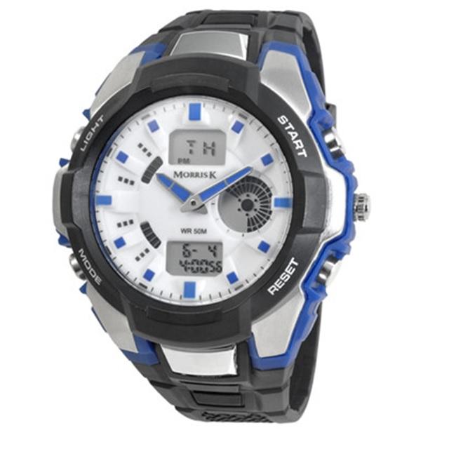 【Morris K】羅志祥代言 賽道較勁運動潮流電子錶 MK14069-BL