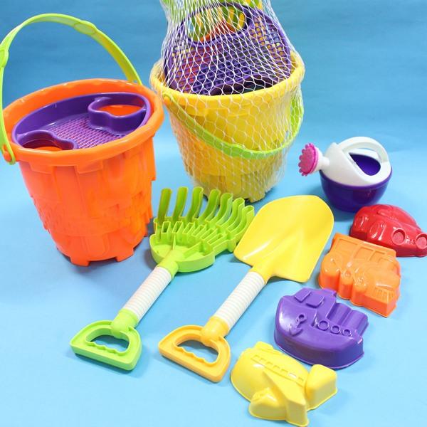 海灘工具桶 沙灘工具桶 小孩堆砂工具 玩沙模具9件式/一桶入{定150}~生KZ-6203