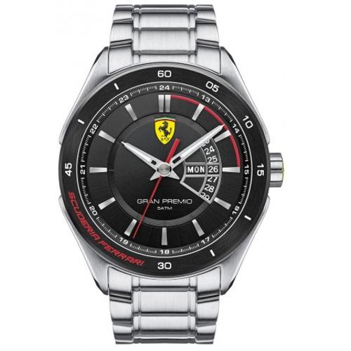 FERRARI Formula Italia 奢華經典黑面鋼帶腕錶/0830189