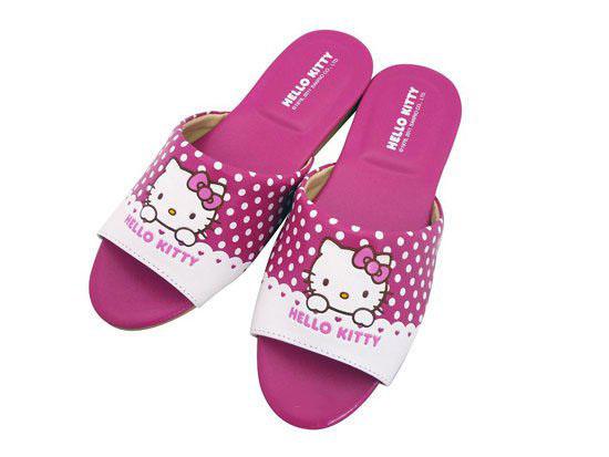 【真愛日本】室內皮拖-點點桃 18-26 三麗鷗 Hello Kitty 凱蒂貓 皮質室內拖鞋 台灣製