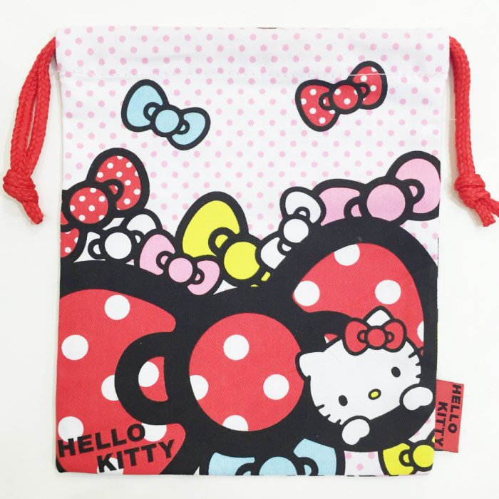 Hello Kitty 束口袋 帆布 收納袋 置物袋 蝴蝶結 點點 配件 文具 正版日本進口 限定販售 JustGirl