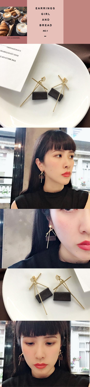 韓國飾品,包布耳環,絨布耳環,針式耳環,金色耳環,方形耳環