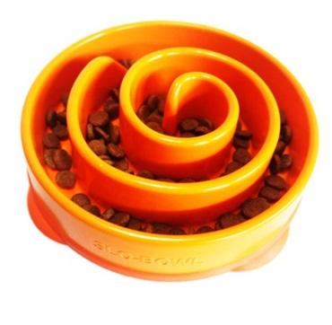 【LOHAS BULL】美國Kyjen慢食碗 珊瑚慢食碗 小 橘色 綠色