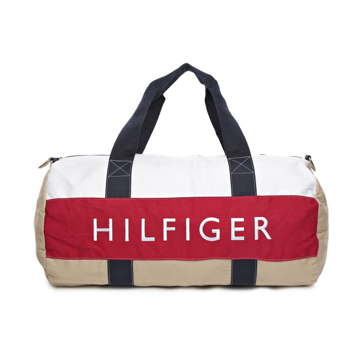 美國百分百【Tommy Hilfiger】旅行袋 TH 圓筒包 運動包 側背包 出國 經典 卡其 白紅 男 女 F645