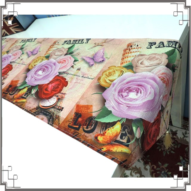 棉麻桌旗《33X180-25》英倫玫瑰桌旗巾 桌布 桌巾 桌墊 三角桌巾 英倫風◤彩虹森林◥