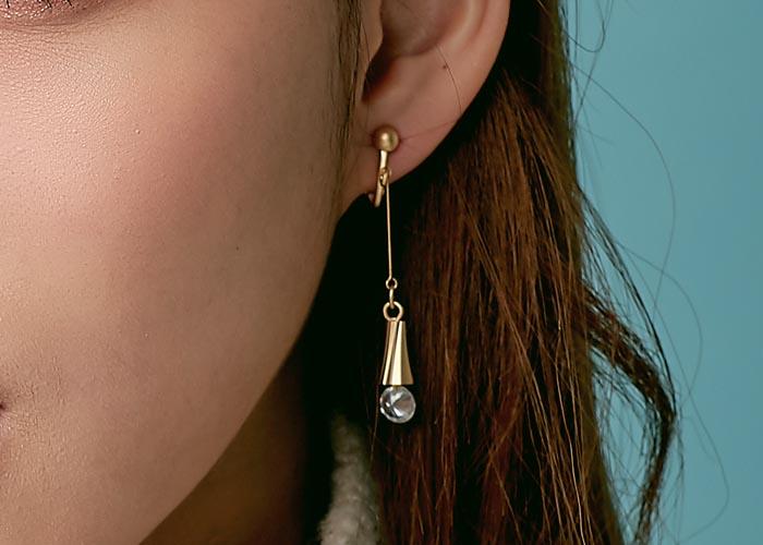 韓國飾品,夾式耳環,螺旋夾耳環,螺旋造型耳環,鑲鑽耳環,垂墜耳環