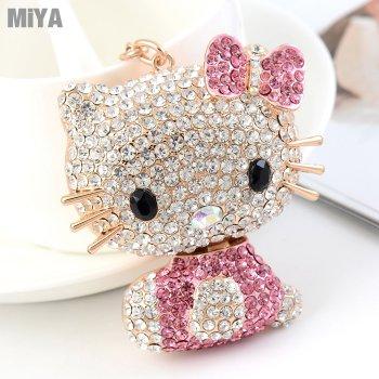 Hello Kitty 凱蒂貓可愛造型水鑽鑰匙圈扣包包掛飾(捷克鑽) 玫紅粉紅 現貨