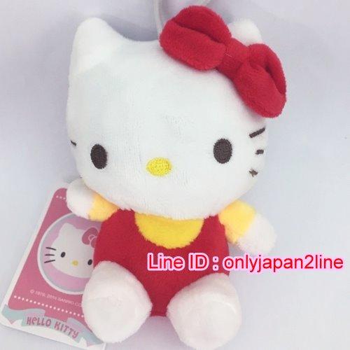 【真愛日本】16101500007坐姿吊娃-13CM 紅衣  三麗鷗 Hello Kitty 凱蒂貓 鎖圈 吊飾