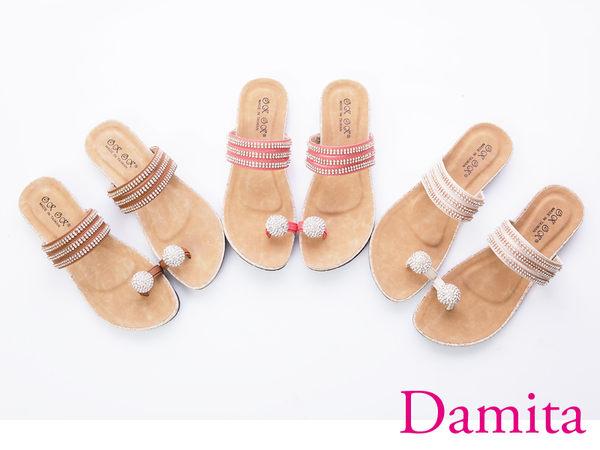 夾腳拖鞋-Damita 晶鑽套指夾腳美拖鞋 ( 3色)