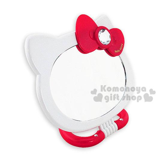 〔小禮堂〕Hello Kitty 造型兩用雙面鏡《紅.大臉.愛心底座.泡殼》