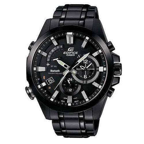 CASIO EDIFICE EQB-510DC-1A炫黑太陽能藍牙指針腕錶/黑面48mm
