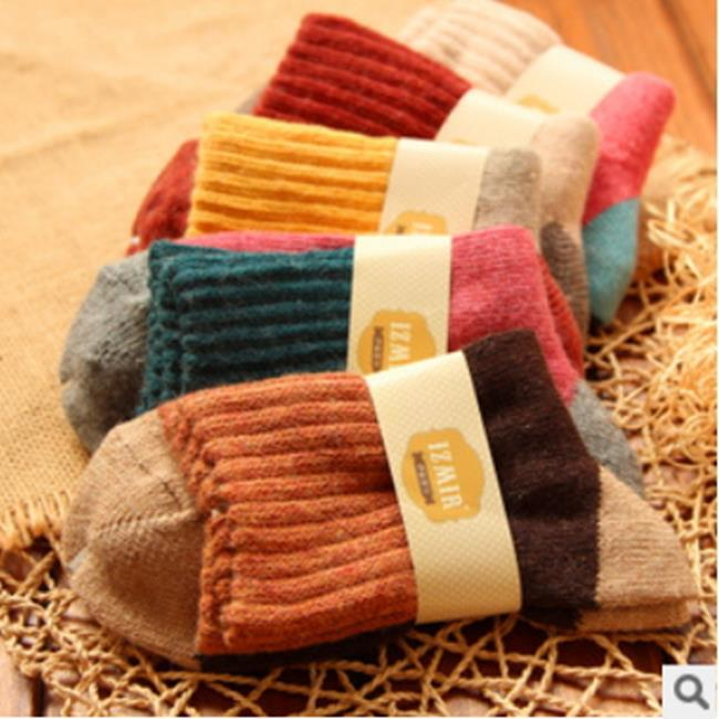 50%OFF【W07556SK】民族風 雙針四色拼接 加厚保暖兔羊毛襪 毛圈襪子 女襪