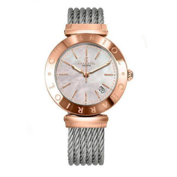 CHARRIOL夏利豪(AMP.51.004)玫瑰金經典鋼索腕錶/白面34mm