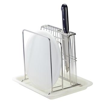 【御膳坊】不鏽鋼加大砧板刀架組(含盤)